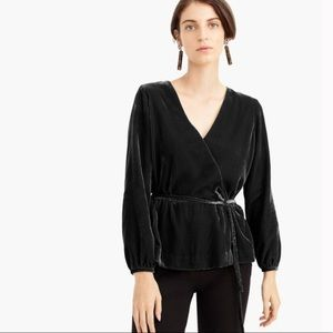 New J. Crew Tall Faux-wrap top in drapey velvet